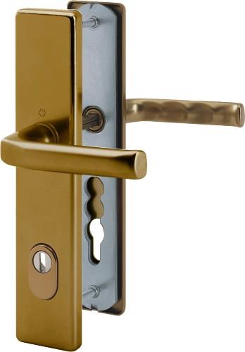 Bezpečnostní kování London 92x8 klika / klika se zakrytím bronz