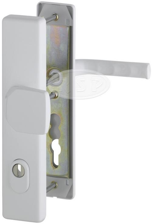Bezpečnostní kování London 92x8 klika / koule se zakrytím bílá