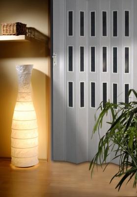 Shrnovací dveře plastové do 60x250cm 3 řady prosklení