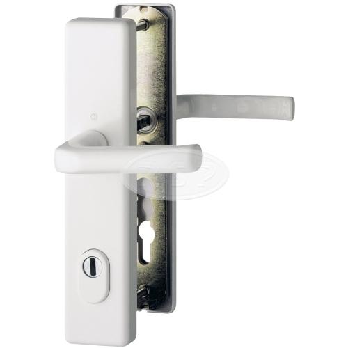 Bezpečnostní kování London 92x8 klika / klika se zakrytím bílá