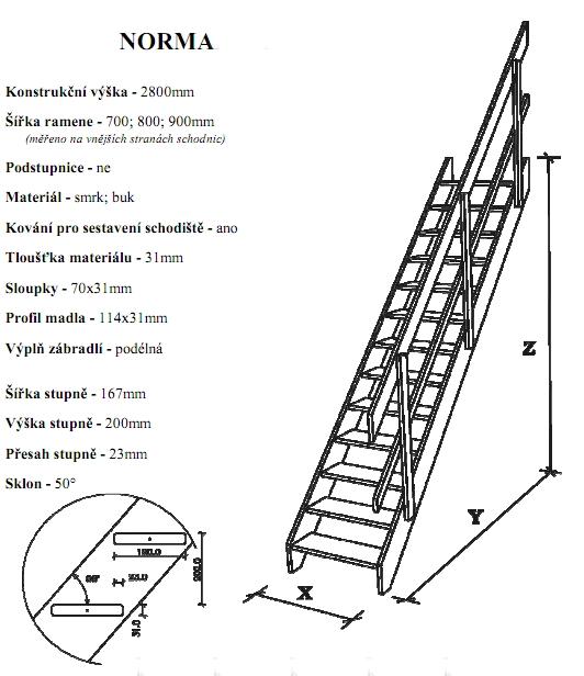 Přímé schodiště Norma, 800x3200