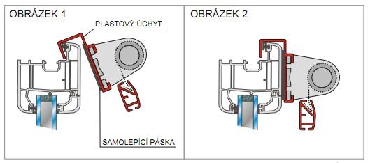 montáž látkové rolety Jazz na plastové úchyty